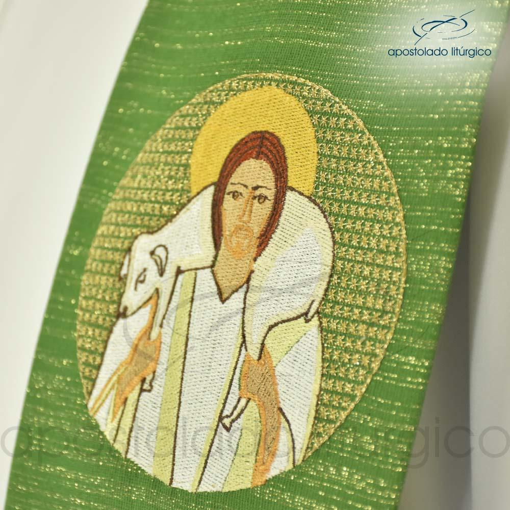 Estola Bom Pastor Bordado Presbiteral Ravena Verde Jesus | Apostolado Litúrgico Brasil