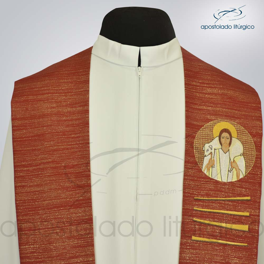 Estola Bom Pastor Bordado Presbiteral Ravena Vermelho Busto
