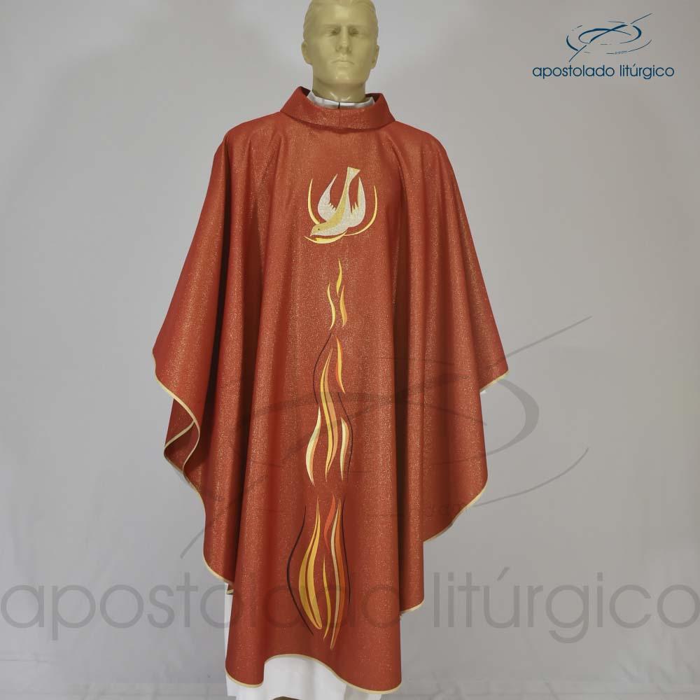 Casula Fogo do Espírito Bordada Brocado Siena Vermelho