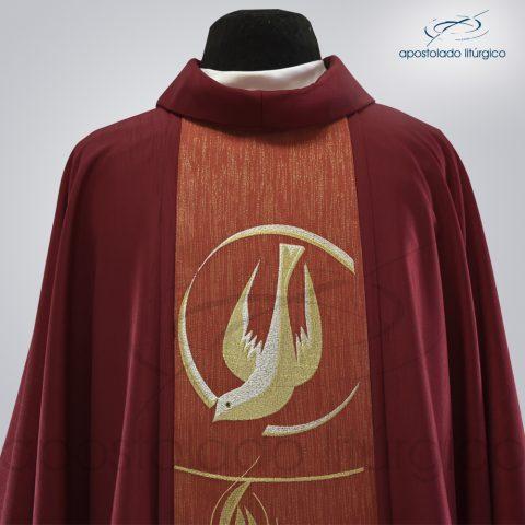 Casula Shantung Galão Espírito Santo Bordado Metalizado Vermelha Frente Busto – 1