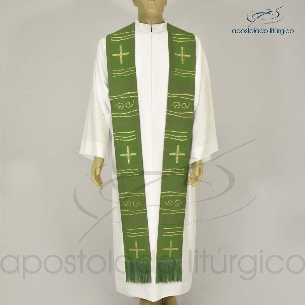 Estola Cruz Caminho Brocada Presbiteral Verde