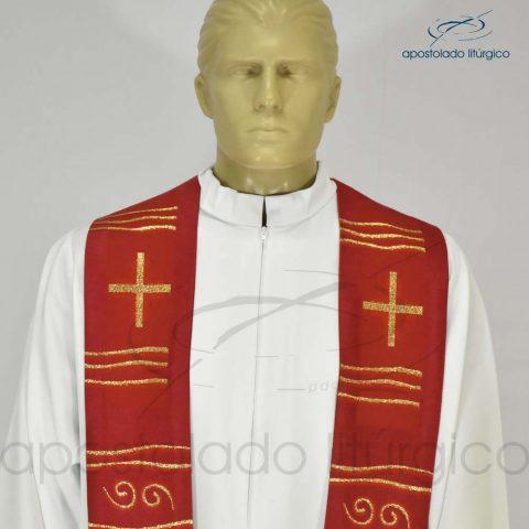 Estola Cruz Caminho Brocada Presbiteral Vermelha [Busto]