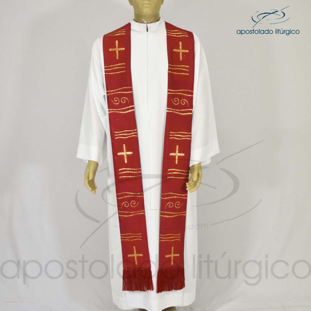 Estola Cruz Caminho Brocada Presbiteral Vermelha