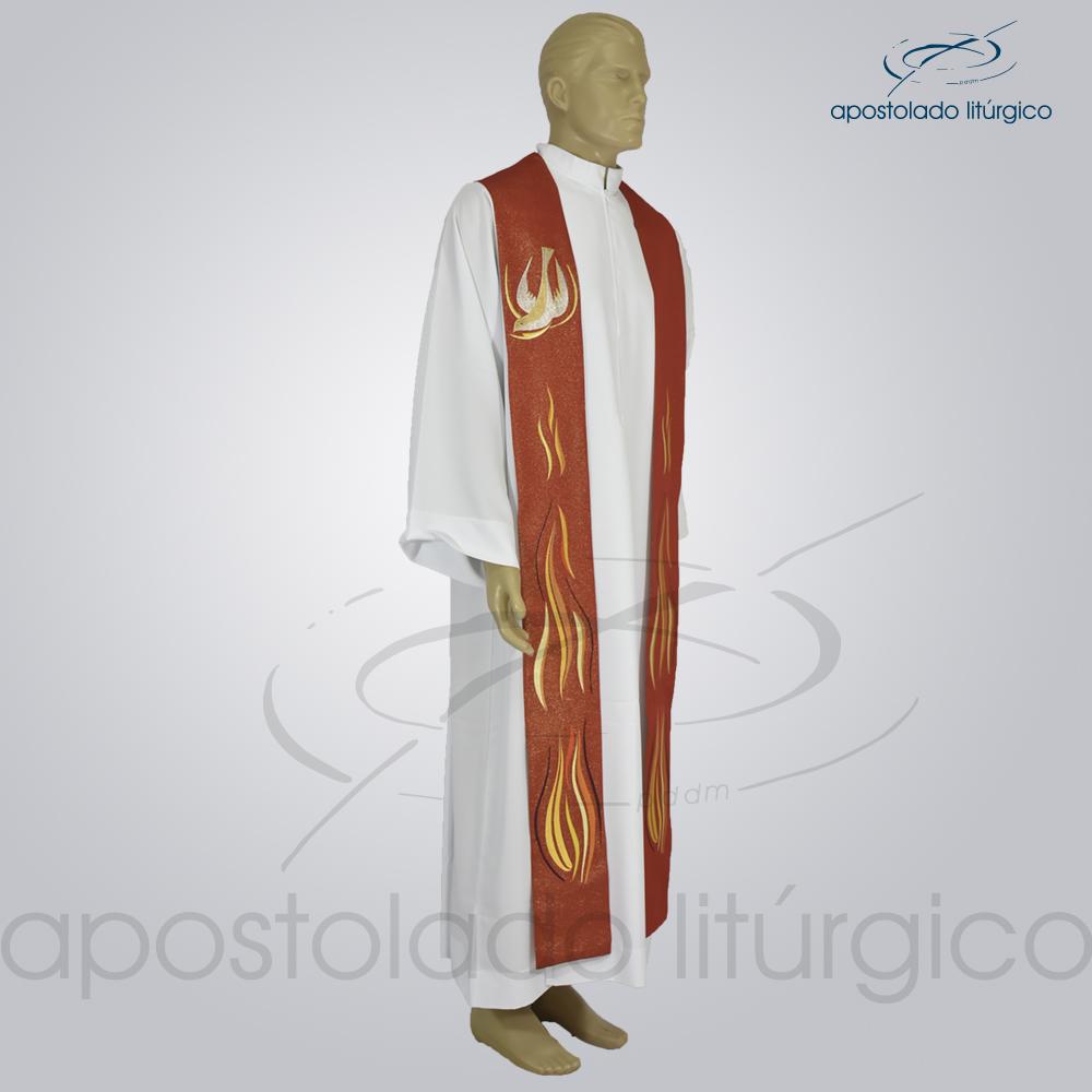 Estola Fogo do Espírito Bordada Presbiteral Ravena Vermelho Frente | Apostolado Litúrgico Brasil