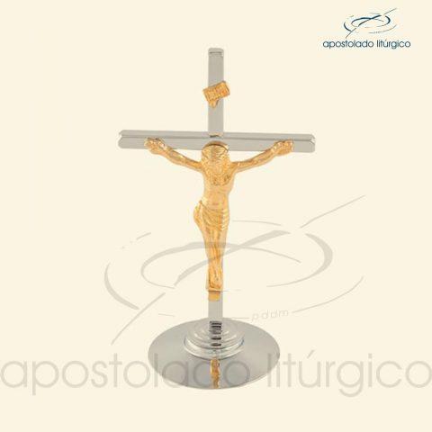 Crucifixo de Mesa Cruz Cromo e Cristo+Inri Dourado