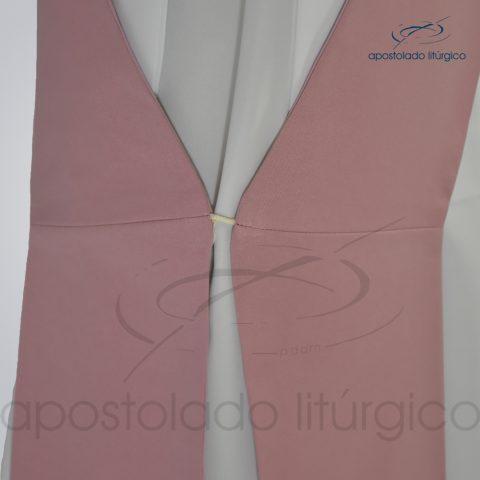 Estola Diaconal Cruz Vida Rosa Lateral Inferior Detalhe