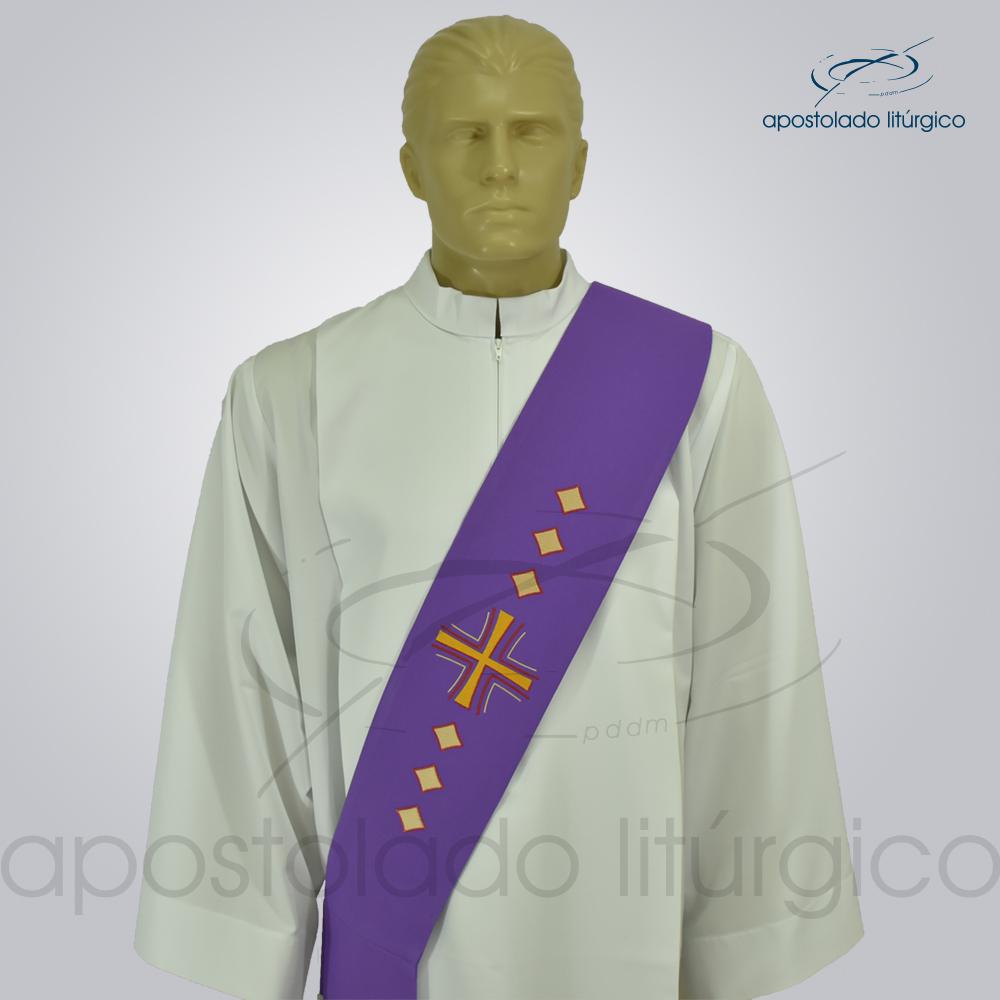 Estola Diaconal Cruz Vida Roxa Frente Busto   Apostolado Litúrgico Brasil
