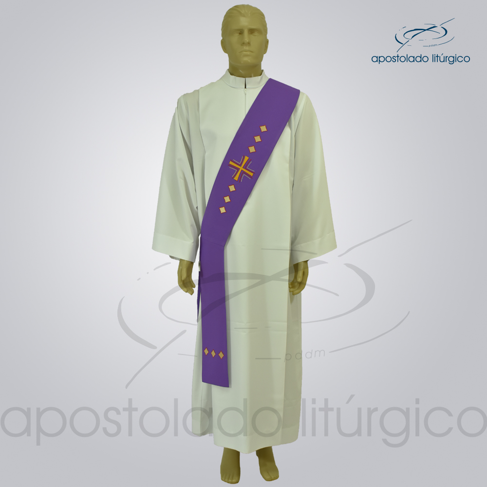 Estola Diaconal Cruz Vida Roxa Frente | Apostolado Litúrgico Brasil