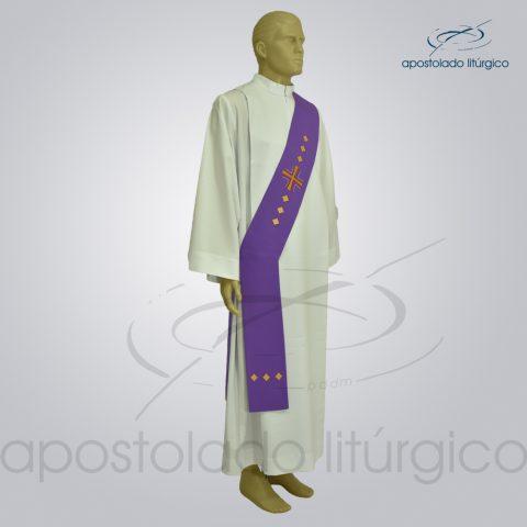 Estola Diaconal Cruz Vida Roxa Lateral