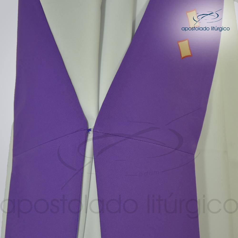 Estola Diaconal Cruz Vida Roxa Lateral Detalhe   Apostolado Litúrgico Brasil