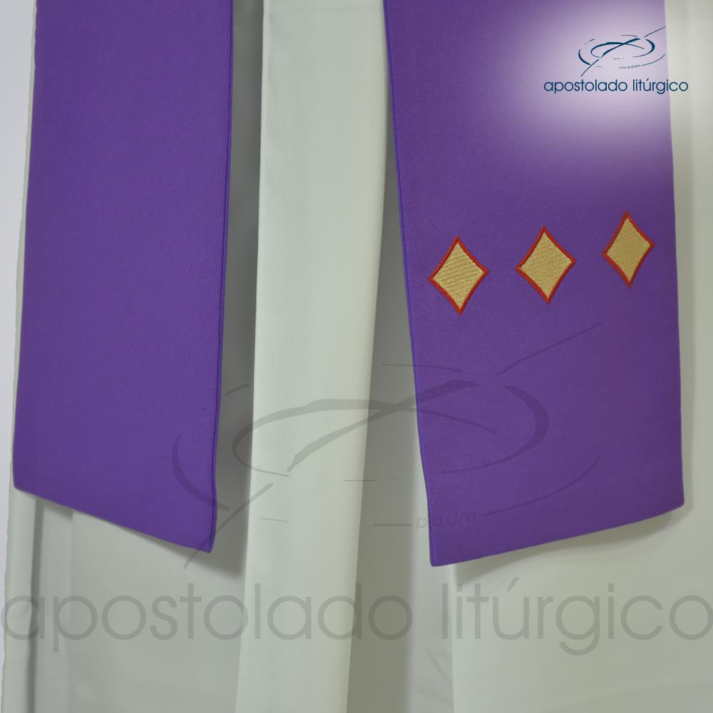 Estola Diaconal Cruz Vida Roxa Lateral Inferior   Apostolado Litúrgico Brasil