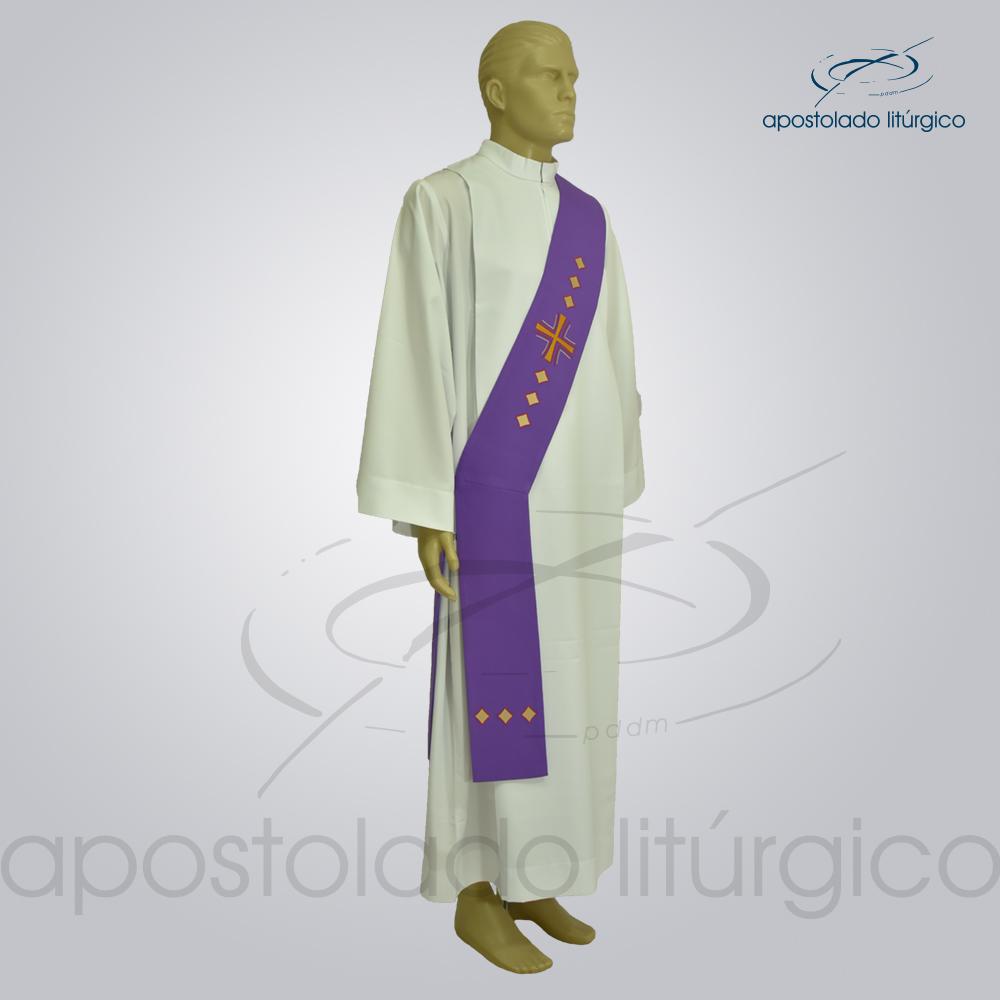 Estola Diaconal Cruz Vida Roxa Lateral | Apostolado Litúrgico Brasil