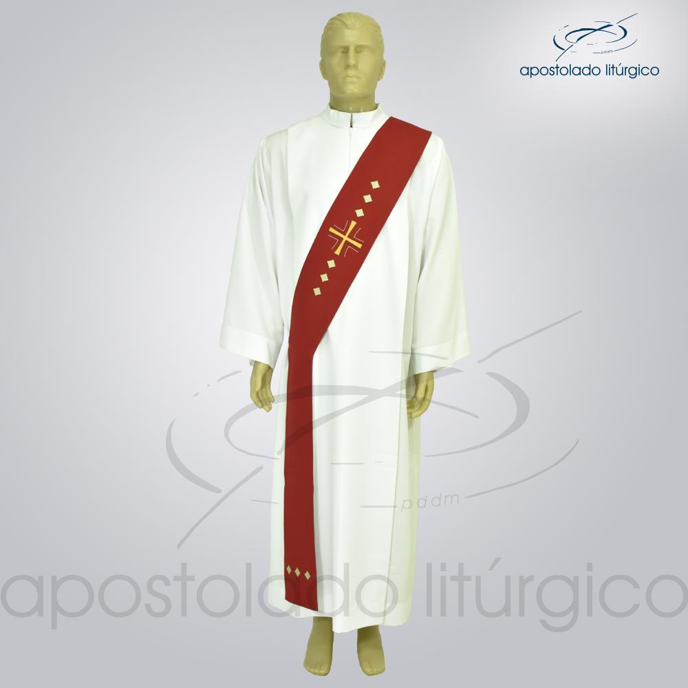 Estola Diaconal Cruz Vida Vermelha Frente | Apostolado Litúrgico Brasil