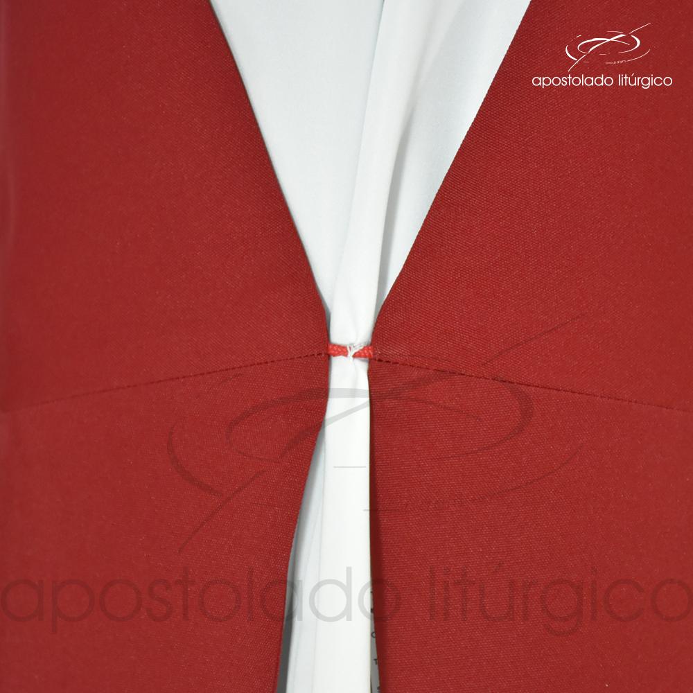 Estola Diaconal Cruz Vida Vermelha Lateral Inferior Detalhe 2 | Apostolado Litúrgico Brasil