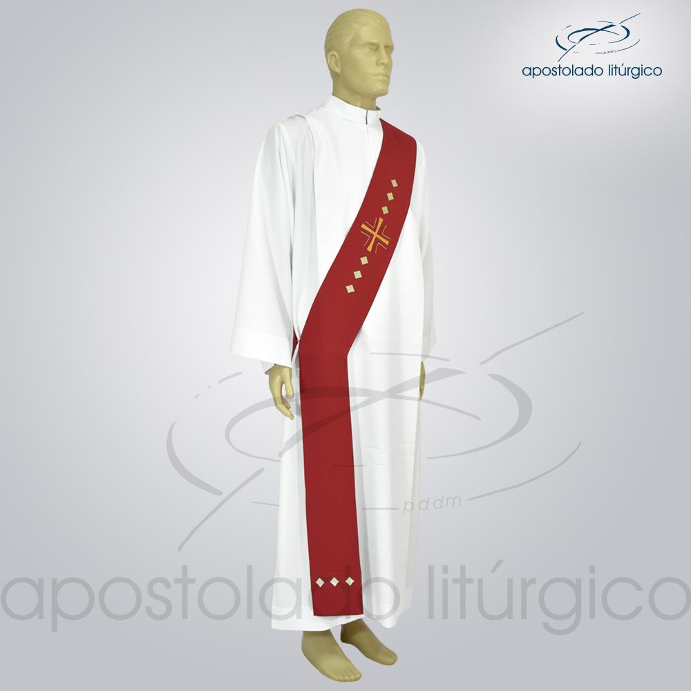 Estola Diaconal Cruz Vida Vermelha Lateral | Apostolado Litúrgico Brasil