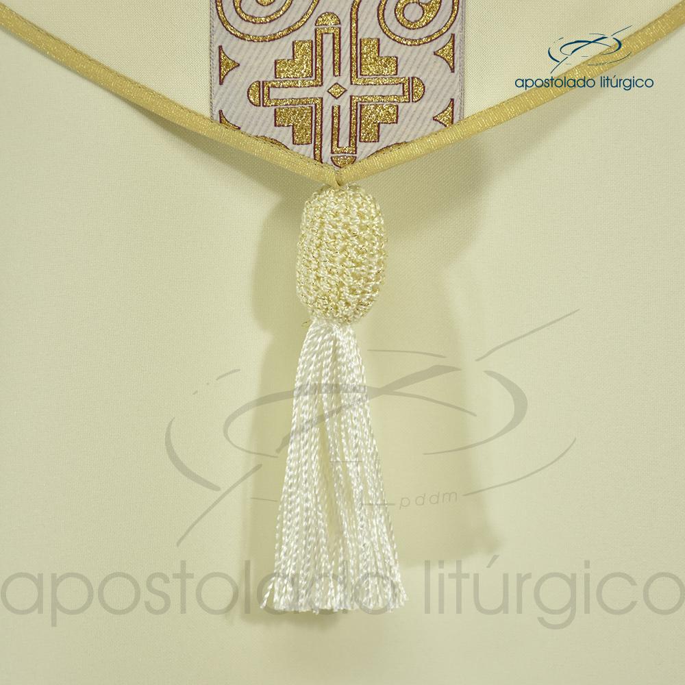 Capa de Benção Grega Indígena Oxford Creme Costas Superior Detalhe | Apostolado Litúrgico Brasil