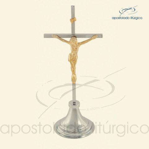 Crucifixo de Mesa Cruz Cromo e Cristo+Inri Dourado - COD LI-350-CMCCCID