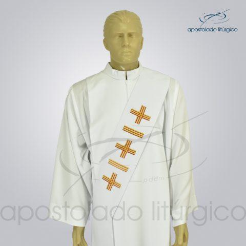 Estola Diaconal Cruz Vida 1 Branca Frente Busto