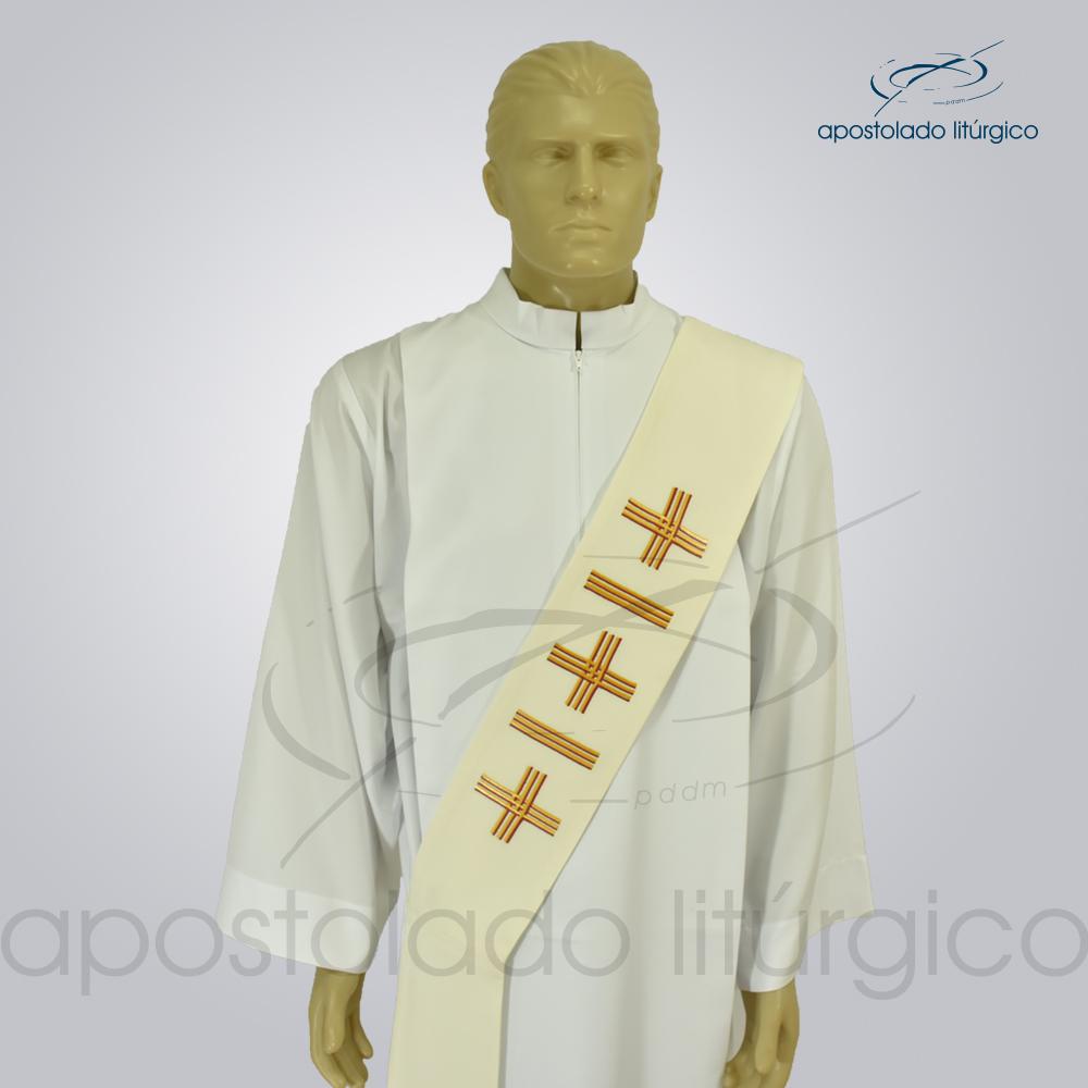Estola Diaconal Cruz Vida 1 Creme Frente Busto | Apostolado Litúrgico Brasil