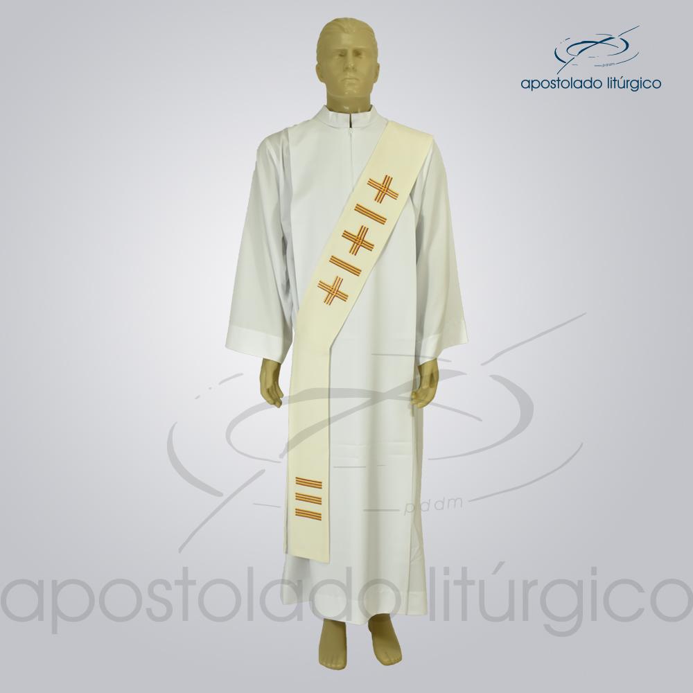 Estola Diaconal Cruz Vida 1 Creme Frente | Apostolado Litúrgico Brasil