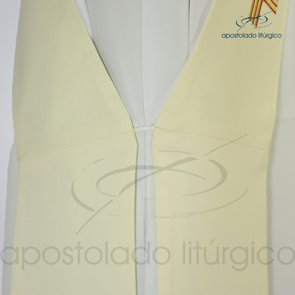 Estola Diaconal Cruz Vida 1 Creme Lateral Inferior Detalhe | Apostolado Litúrgico Brasil