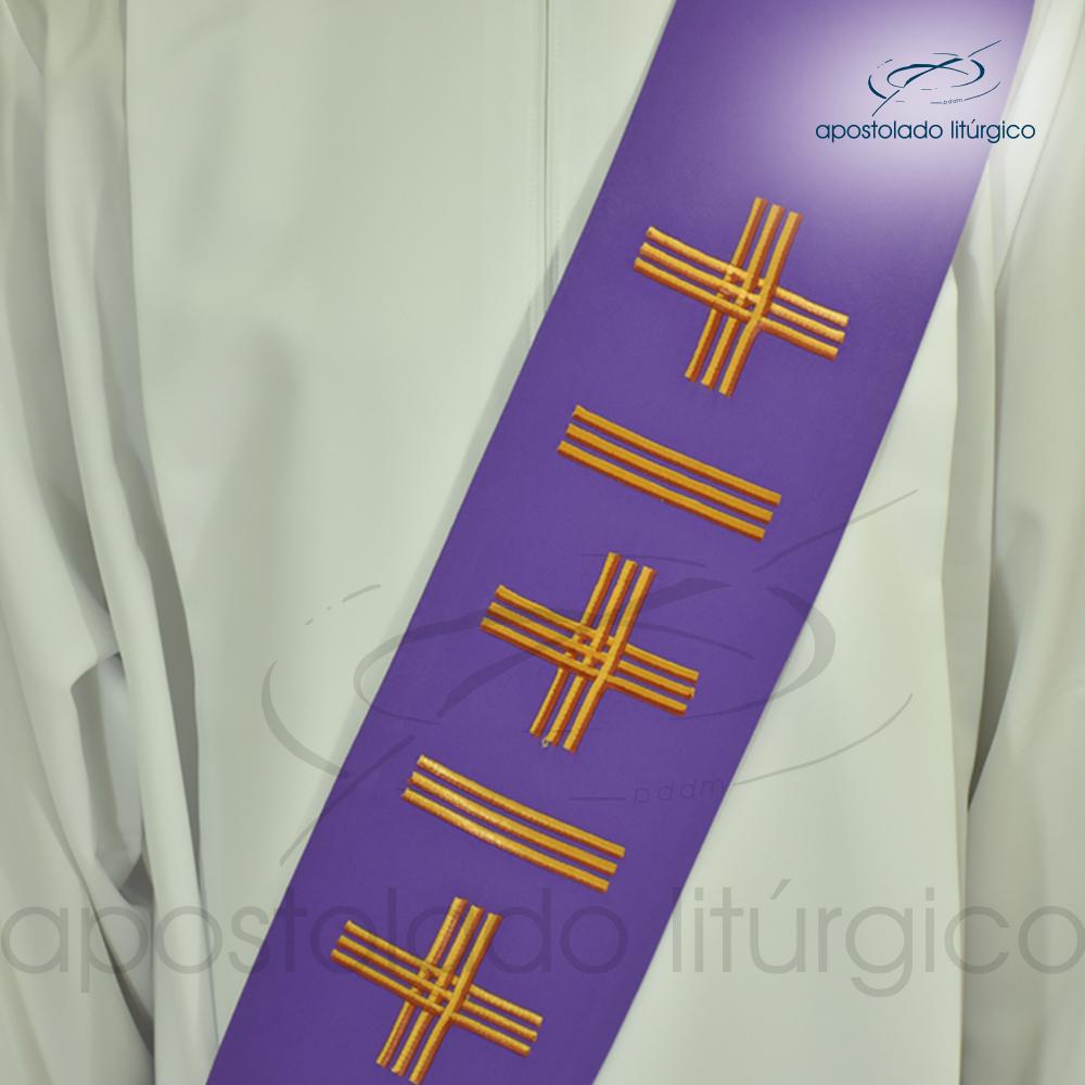Estola Diaconal Cruz Vida 1 Roxa Frente Detalhe | Apostolado Litúrgico Brasil