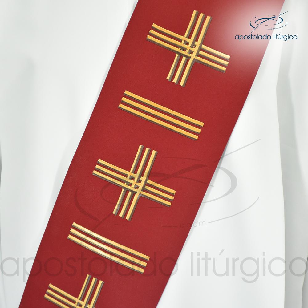 Estola Diaconal Cruz Vida 1 Vermelha Frente Detalhe | Apostolado Litúrgico Brasil