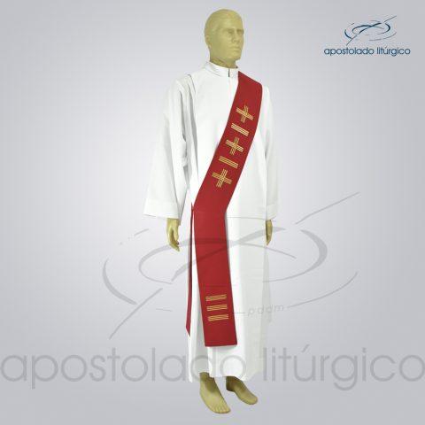Estola Diaconal Cruz Vida 1 Vermelha Lateral