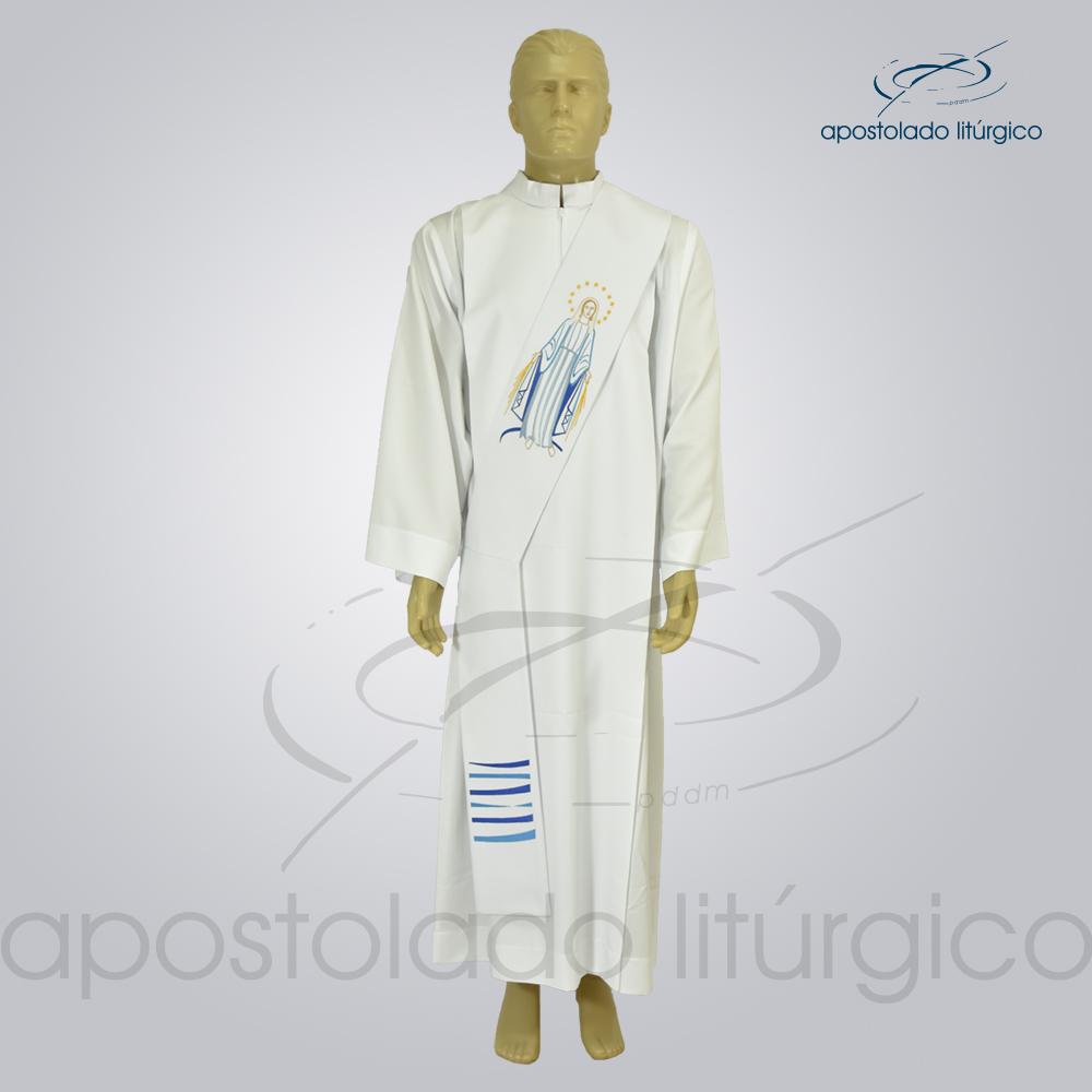 Estola Nossa Senhora das Graças Diaconal Bordada Oxford Branco Frente   Apostolado Litúrgico Brasil