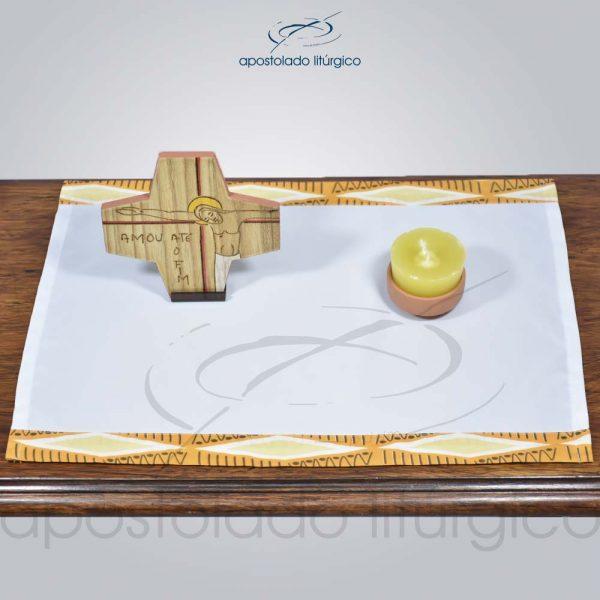 Conjunto para Oratório Cruz, Castiçal e Toalha