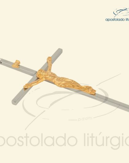 Crucifixo de Parede Cruz Cromo, Cristo e INRI Dourado 17,5 cm
