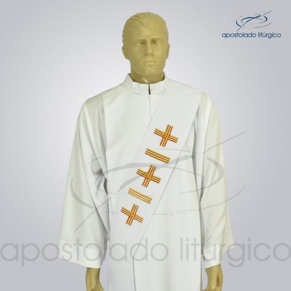 Estola Diaconal Oxford Bordado Cruz Vida 1 Branca