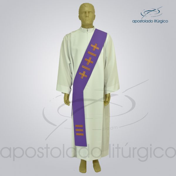 Estola Diaconal Oxford Bordado Cruz Vida 1 Roxa