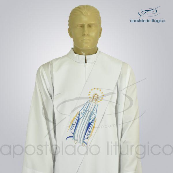 Estola Nossa Senhora das Graças Diaconal Bordada Oxford Branco