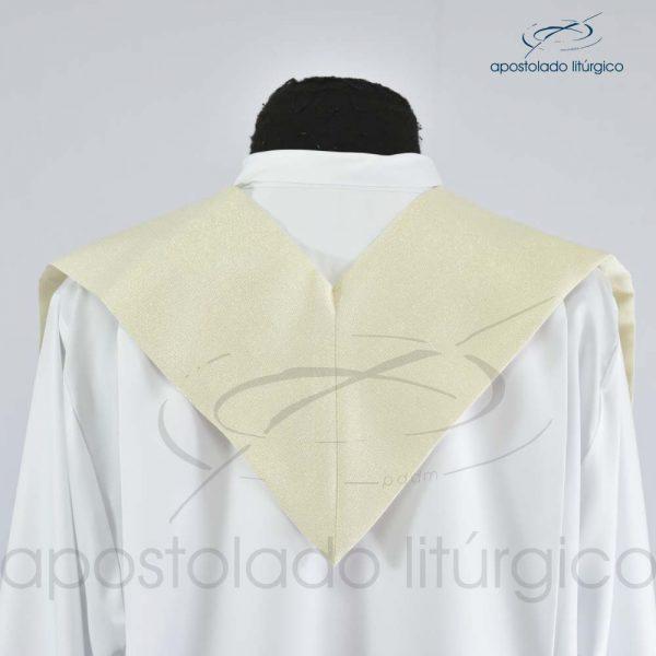 Estola Oliveira Bordada Presbiteral Brocado Siena Pérola