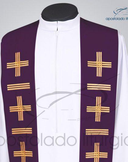 Estola Presbiteral Oxford Bordado Cruz Vida 1 Roxa